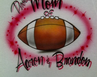 Airbrushed Mom or Dad of Football Player Personalized w/ Name size S M L XL 2X Airbrush T Shirt