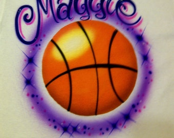 Airbrushed Basketball T Shirt W/ Name size  XS S M L XL Airbrush T-Shirt