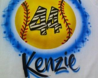 Airbrush Softball with Name & Zebra Number T-Shirt size S M L XL 2X Shirt