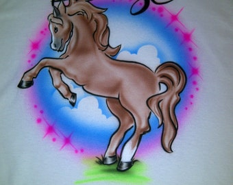 Airbrushed Horse T-Shirt Personalized w/ Name Youth size XS S M L XL 2X Airbrush T Shirt