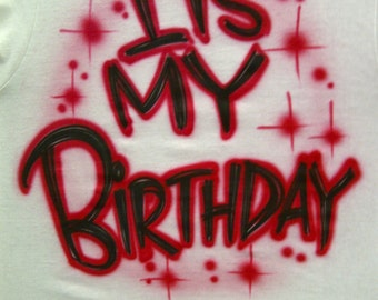 Airbrush Front & Back Birthday Shirt Personalized with Name S M L XL 2X Airbrushed B-Day T-Shirt