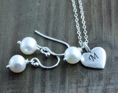 Keep Sake Pearl Earrings and Pearsonalized Heart and Pearl Necklace Set on Sterling Silver