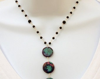 Onyx, Turquoise and Fine Silver Necklace