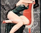 Vintage Pin Up on Charcoal Swirl Collaged Background - PU210 -Instant Download - Bonus Sheet My Treat