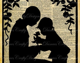 Mother and Child in the Garden- Vintage Silhouette on Aged Dictionary Print Background-S2-8.5x11- Instant Download-Bonus Sheet My Treat
