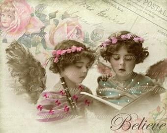 BELIEVE -Instant Digital Downlad- Victorian Children on Rose Script Background - VC104- 8.50x11 - Bonus Sheet My Treat