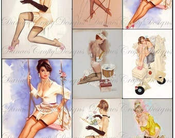Pastel Pin Ups - Vintage Pin Up Collage Sheet- CS6 - Digital Download - Bonus Sheet My Treat