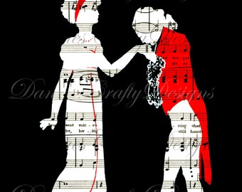 Vintage Dancing Couple Reverse Silhouette on Sheet Music Background - S52- Digital Download - Bonus Sheet My Treat