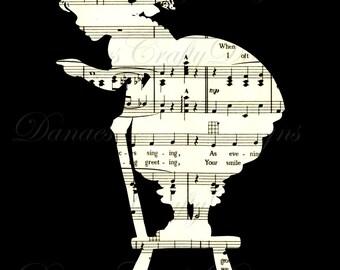 Vintage Child Silhouette Collage on Sheet Music Background - Digital Download - Bonus Sheet My Treat