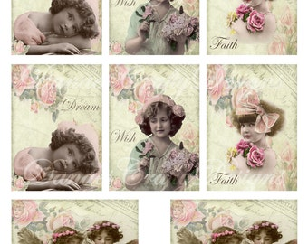 Victorian Children ATC Collage Sheet - 2.5x3.5 size images- CS14- Digital Download - Bonus Sheet My Treat