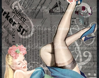 Blonde Bombshell- Vintage Pin Up Girl on Charcoal Swirl Collaged Background- PU207- Instant Digital Download - Bonus Sheet My Treat