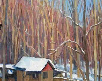 Little Snow Shed, Western Massachusetts. 12x18 Framed Plein Air Winter Landscape, Signed Original American Realist Oil Painting