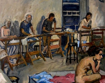 Night Session, Art Studio, Oil on Linen Canvas, 20x20 Realist Interior Fine Art, Signed Original Oil Painting