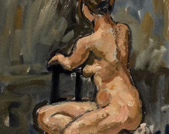 Seated Female Nude, Twist. Original Oil Painting, Small 9x11 Small Classic Figure Study, Signed Original Fine Art