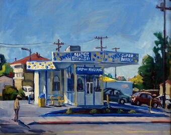 Super Burger, Oakland California. Original Urban Realist Oil on Canvas, 18x18 Strip Framed Impressionist Cityscape, San Leandro Bay Area Oil