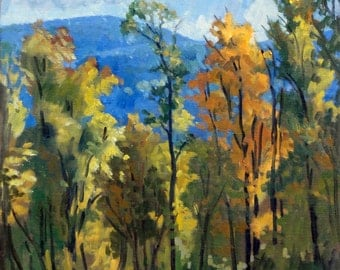 Autumn Trees, Berkshires.  18x24 Oil on Canvas, Large Impressionist Plein Air Landscape, Signed Original Vermont Fall Foliage Oil Painting