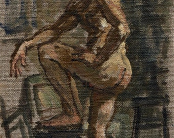 Standing Male Nude, Twist. Original Oil on Canvas, 9x6 Realist Painting, Small Classical Figure Painting, Signed Original Fine Art