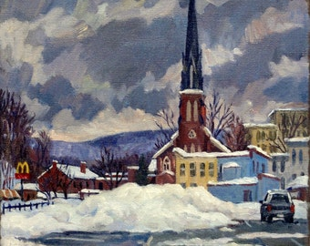 Deep Snow North Adams. 12x12 Original Oil Painting on Canvas, Urban Impressionist Winter Scene, Signed Original Fine Art, St. Francis Church