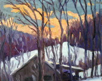 January Sunset, Berkshires Snow. 12x10 Oil Painting Landscape on Canvas, Scenic Winter Plein Air Impressionist Fine Art, Signed Original