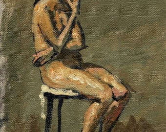 Seated Female Nude, Pensive. Small Original Figure Painting, 6x9 Oil on Canvas, Realist Oil Study, Signed Original Fine Art