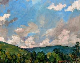 Summer Sky, Berkshires Farm, Williamstown. 14x18 Realist Oil Painting Landscape on Canvas, Plein Air Impressionist Fine Art, Signed Original