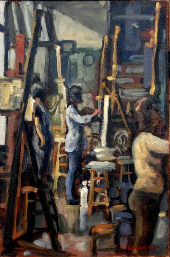 Afternoon Light, Art Students League of New York. Oil on Canvas, 12x18 Strip Framed NYC Studio Interior, Signed Original Realist Fine Art