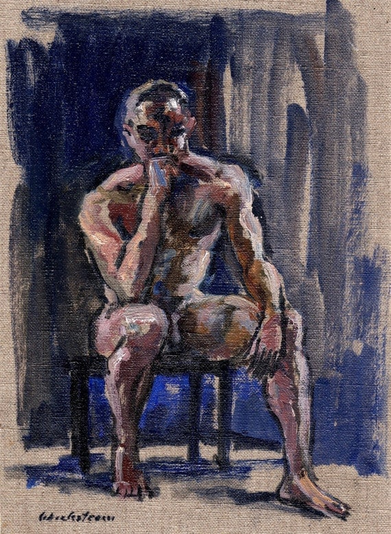Figure Painting, Seated Male Nude, Pensive. Oil on Canvas, 8x11 Classic Fine Art, Signed Original