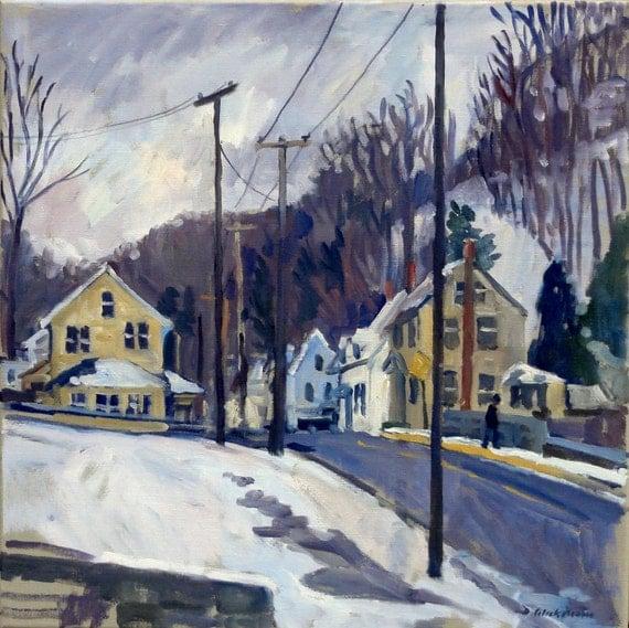 December Snow, North Adams. Oil Painting Landscape on Canvas, 20x20 Winter American Impresionist Plein Air Fine Art, Large Signed Original