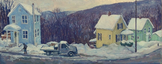 Oil Painting Landscape, Still Snowing. Large Original Painting, Winter Plein Air Realist Landscape