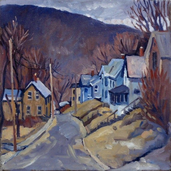 Study in Violet, Toward Vermont. Small Realist Oil on Canvas, 10x10 Plein Air Impressionist Landscape Painting, Signed Original Fine Art