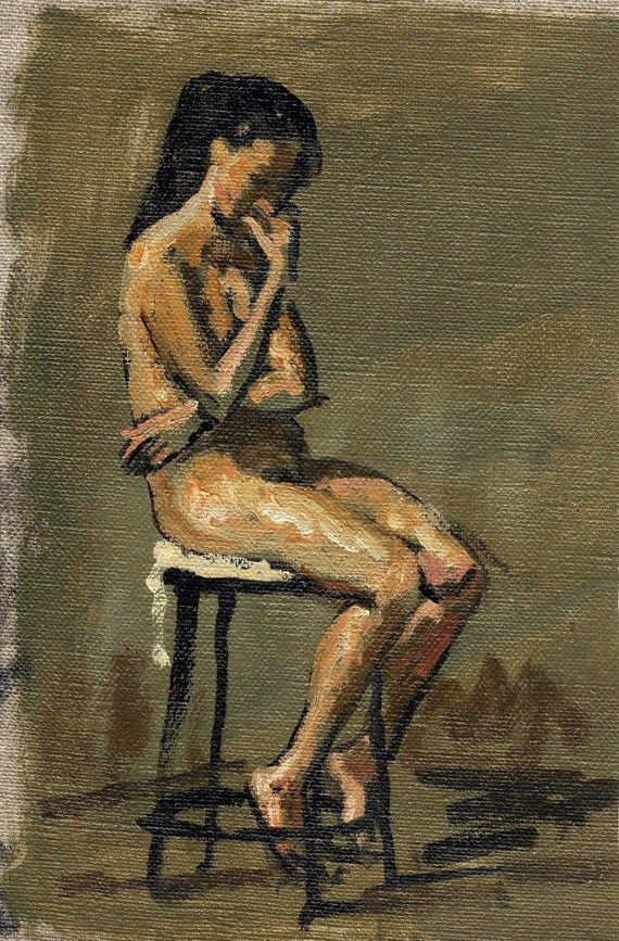 Figure Painting Seated Female Nude Pensive Small Original Oil