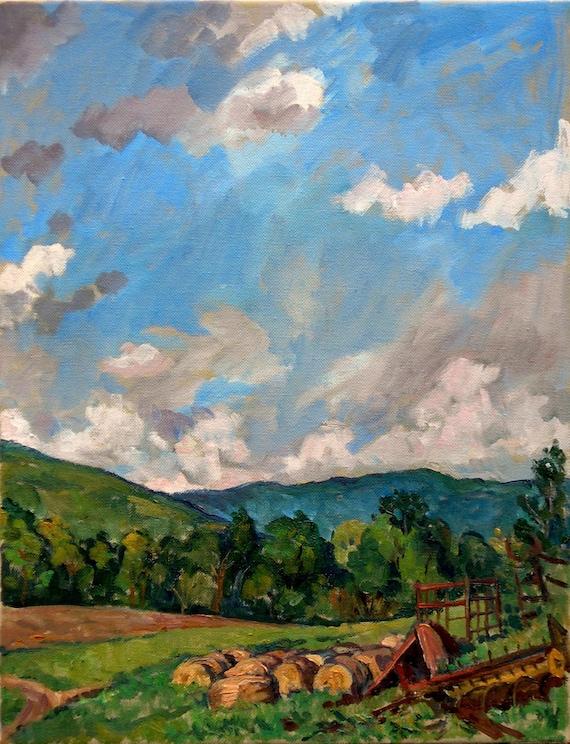 Summer Sky, Berkshires Farm, Williamstown. 14x18 Realist Oil Painting Landscape on Canvas, Plein Air Impressionist Fine Art, Signed Original