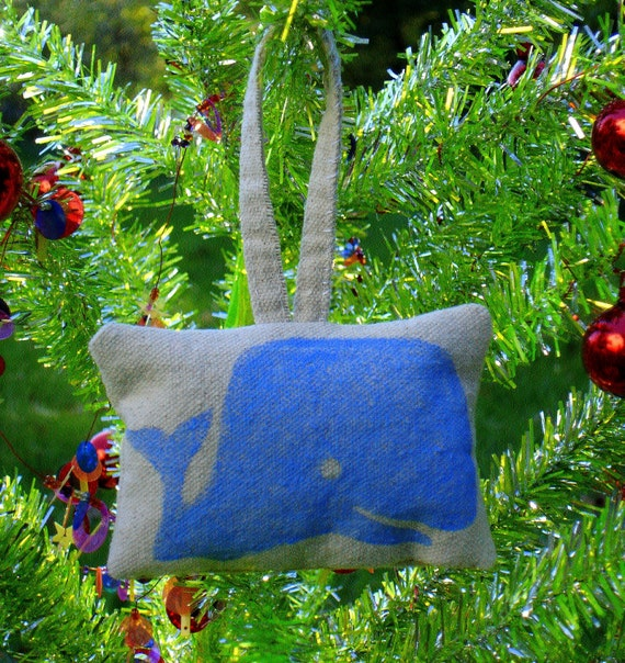 Blue Sperm Whale Hand Stamped Ornament by SBMathieu