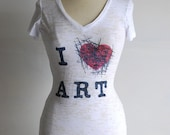 I X ART T-Shirt by MITMUNK - Women's graphic printed burnout tee - I Love/Hate Art