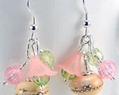 Ivory Lampwork and Pink Flower Earrings