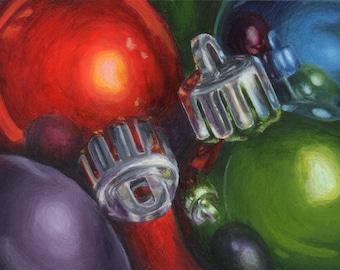 Christmas Art, Small Acrylic Painting Still Life Painting of Christmas Ornaments, Original Art for Holiday Decor 5x7