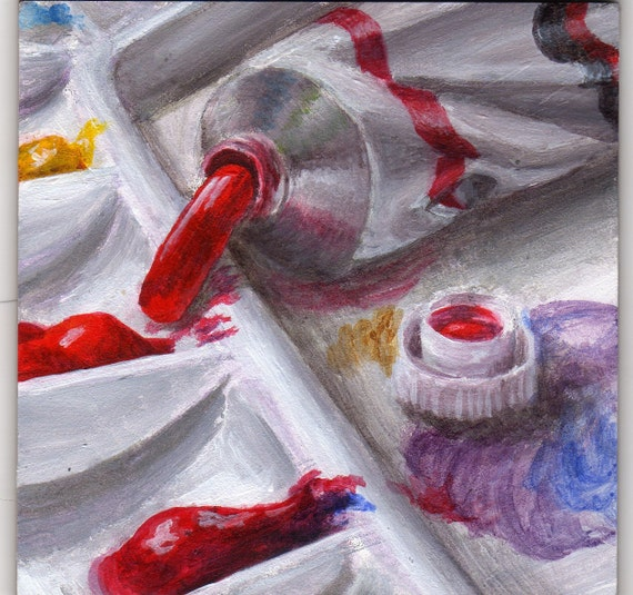 Original Small Still Life Acrylic Painting of Artist's Paints, Home Decor Art for the Artist