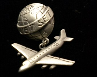 Vintage Brooch, Airplane Pin, Steampunk, Gothic Jewelry, JET SET  Pin,  1980's