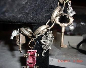 Vintage Crackerjack Trinket Industrial Charm Bracelet