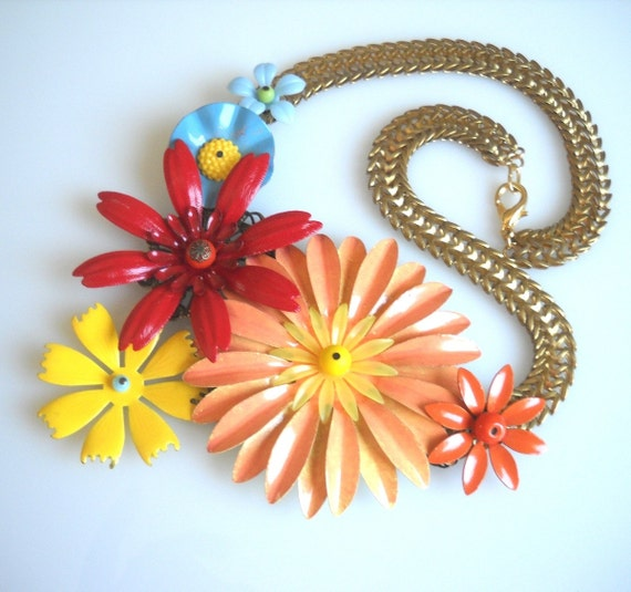 Flowers Statement Necklace colorful Jewelry