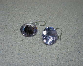 Amethyst Swarovski Round Dangle Earrings