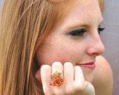 Fire Multicolor Garnet Ring / Gemstone Teardrops / Sterling Silver / Adjustable Band / Cocktail Ring / Orange / Gifts For Her / OOAK