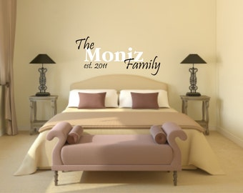 Family Last Name and Vinyl Wall Decal - Family Vinyl Wall Decal - Last Name and Established Wall Decal - Wedding Gift