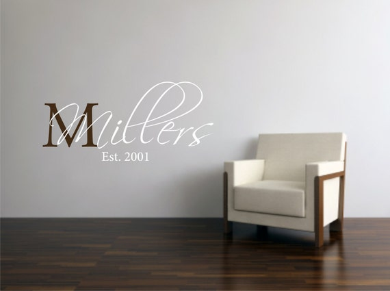 Vinyl Wall Decal Your Family's Last Name Monogram - Family Wall Quote - Family Decal - Family Monogram