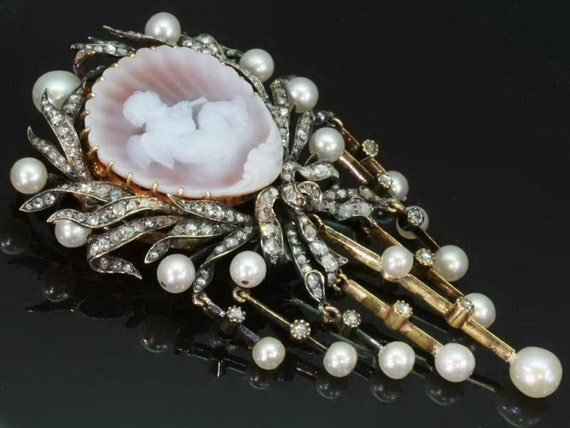 Reserved for Candy - Antique brooch, angel cameo, diamonds and pearls, Victorian jewelry ref.11122-0039