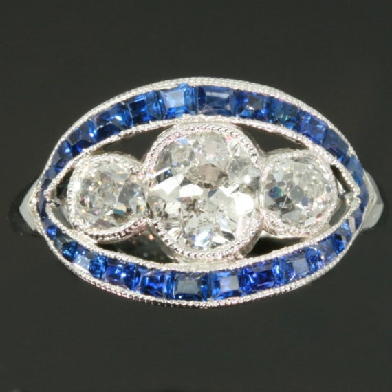 Art Deco ring, sapphire diamond ring, Art Deco engagement ring, vintage Art Deco jewelry 1930s