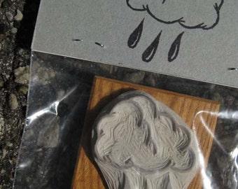 Raincloud - Hand-Carved Stamp