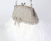 Rhinestone Bridal Clutch Purse Vintage Style with White Ostrich Feathers, Rhinestone Bow Accent, and Beaded Handle/Necklace