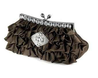 Bridal Clutch, Brown Clutch, Bridesmaids Clutch, Brown Evening Bag, Rhinestone Clutch, Wedding Accessories, Bridal Accessories