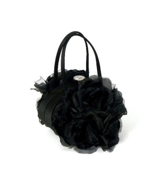 FINAL CLEARANCE SALE - Black Satin Clutch with Silk Roses and Rhinestone Closure